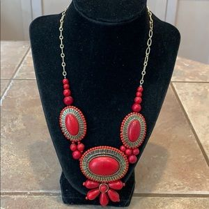 💐red stone southwestern statement gold tone chain